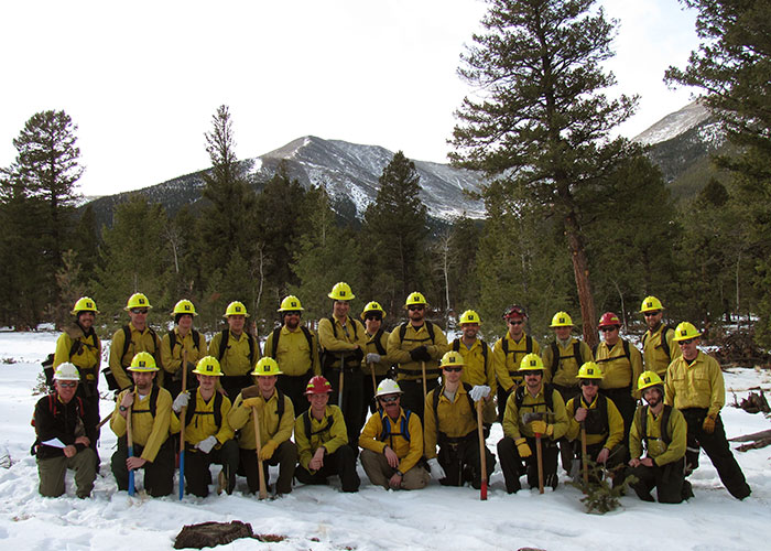 S-130/190 Basic Firefighter, #117 and S-290 Intermediate Wildland Fire Behavior, #11 in January, 2013 on pile burn field exercise at the foot of Mt. Princeton with students predominately from the SCC Veterans' Fire Corps.